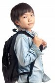 Asian Boy With School Backpack