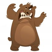 Angry And Funny Cartoon Brown Grizzly Bear Making Attacking Gesture