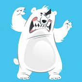 Angry And Funny Cartoon White Polar Bear Making Attacking Gesture