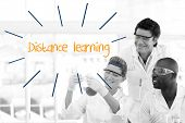 The word distance learning against scientists working in laboratory