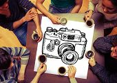 Composite image of camera on page with people sitting around table drinking coffee