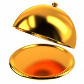 Golden restaurant cloche, 3d