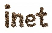Coffee beans stacked to form the word inet