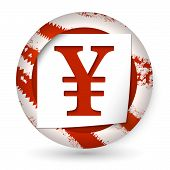 picture of yen  - red abstract icon with paper and yen sign - JPG