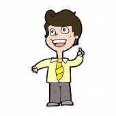 cartoon school boy raising hand
