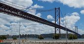 The bridge on April 25 (Ponte 25 de Abril) through the river Tagus in Lisbon, Portugal