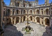 Tomar, Portugal - July 18, 2013: Dom Joao III Cloister (Renaissance masterpiece) in the Templar Convent of Christ in Tomar, Portugal. UNESCO World Heritage
