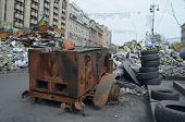 KIEV, UKRAINE - APR 7, 2014: Downtown of Kiev.Situation in the city.Burned car.Putsch of  junta in K