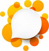 Vector illustration of white paper round speech bubble over orange background. Eps10.