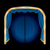 vector stage with blue curtain and golden frame
