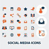 social media, blog, internet icons, signs, elements set, vector