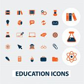 education icons, signs, elements set, vector
