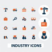 industry, business, logistics icons, signs, elements set, vector