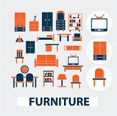 furniture, interior design icons, signs, elements set, vector