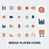 media, music player icons, signs, elements set, vector