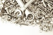 foto of bolts  - Spanners on nuts and bolts - JPG