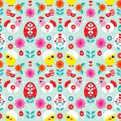 Seamless colorful retro easter chicken and bird blossom illustration background pattern in vector
