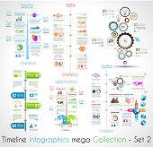Timeline Infographic design templates Set 2.  With paper tags. Idea to display information, ranking