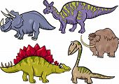 stock photo of prehistoric animal  - Cartoon Illustration of Dinosaurs and Prehistoric Animals Characters Set - JPG