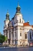 St. Nicholas church at Old Town Square early in morning, Prague, Czech republic