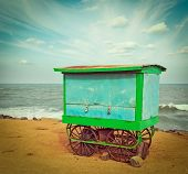 picture of tamil  - Vintage retro hipster style travel image of cart on beach - JPG