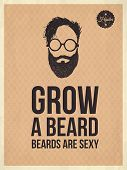Hipster Vintage Trendy Look Quotes, Grow A Beard