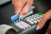 stock photo of receipt  - Debit card swiping on card - JPG