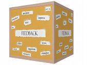 Feedback 3D Cube Corkboard Word Concept