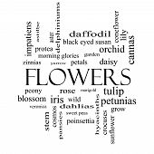 Flowers Word Cloud Concept In Black And White