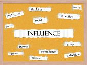 Influence Corkboard Word Concept