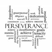 Perseverance Word Cloud Concept In Black And White