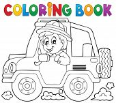 Coloring book car traveller theme 1 - eps10 vector illustration.