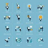 picture of newsletter  - Set of flat design icons for businessman in various situations - JPG