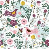seamless pattern with birds and