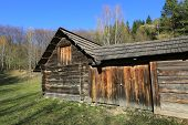 traditional old ukrainian wooden house in Carpathian