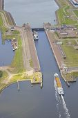 Dutch Sea Lock At Ijmuiden, The Netherlands From Above
