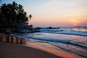 Sunset on the ocean, Sri Lanka beach
