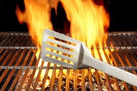 foto of grils  - Burning coals in BBQ Gril - JPG