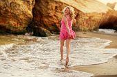 The beautiful blonde on sea