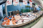 Samara, Russia - September 28, 2014: Raw Fish Ready For Sale In The Hypermarket Karusel. One Of Larg