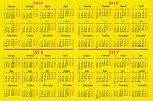 Calendar For 2014 - 2017 Years