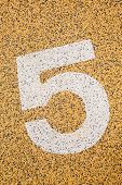 Number Five Sign On Sand Fome