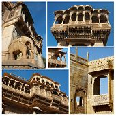 Collage Of Jaisalmer Unique Architectural Landmaks,rajasthan,india,unesco Heritage Site