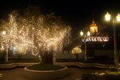 Night View Of Wat Rat Natda Ram Worawihan Monastery.