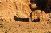 picture of camel-cart  - Facade of a beautiful building in the archaeological site of Petra Jordan - JPG