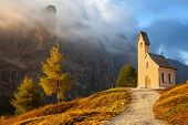 foto of chapels  - Small chapel with mountains in the background - JPG