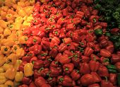 Red Yellow Bell Peppers Mix Paprika In Market