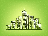 Cityscape doodle on green background Vector illustration