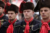 ZAGREB, CROATIA - OCTOBER 04: Guard of Honour of the Cravat Regiment popular tourist attraction in Zagreb. on October 04, 2014 in Zagreb.