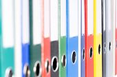 Folders on shelves